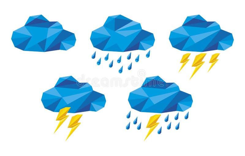 Icone della nuvola per il web ed il app di calcolo illustrazione di stock