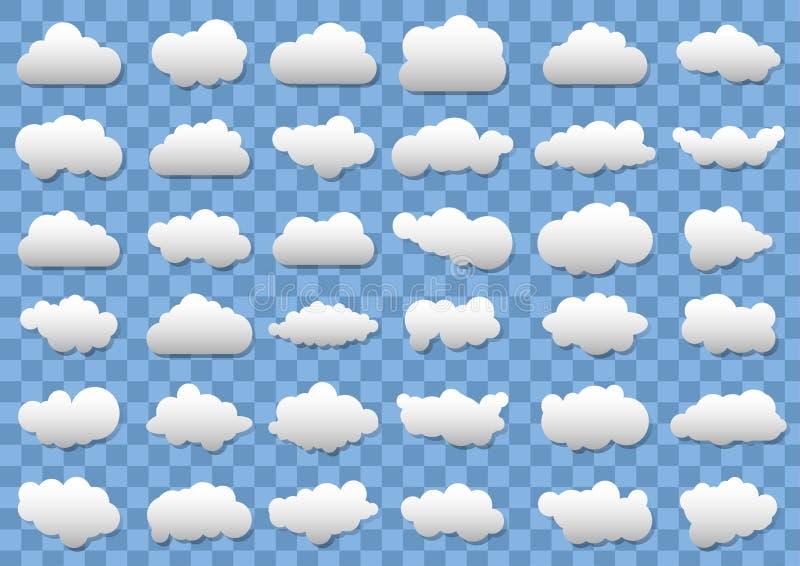 Icone della nuvola su fondo blu trasparente 36 nuvole differenti di vettore Nubi di vettore illustrazione vettoriale
