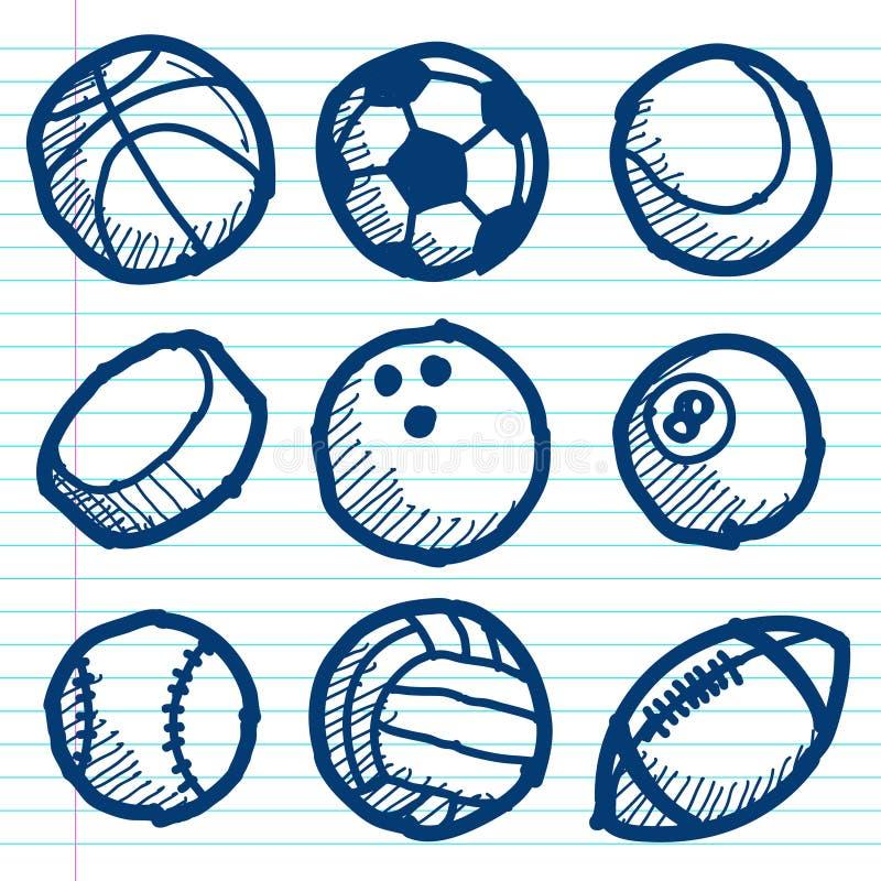 Icone della palla di sport di scarabocchio illustrazione di stock