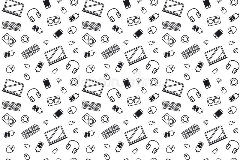 Icone della parte del computer Struttura del modello che ripete in bianco e nero monocromatico senza cuciture royalty illustrazione gratis