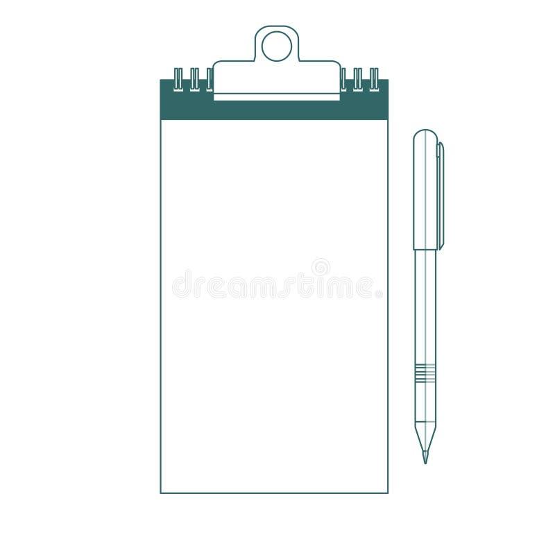 Icone della penna e del blocco note Descritto su fondo bianco royalty illustrazione gratis