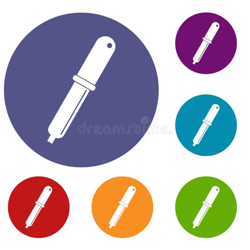 Icone della pipetta della raccoglitrice di colore messe illustrazione vettoriale