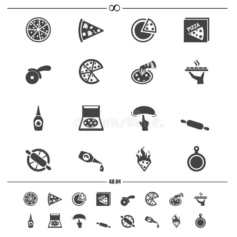 Icone della pizza illustrazione vettoriale