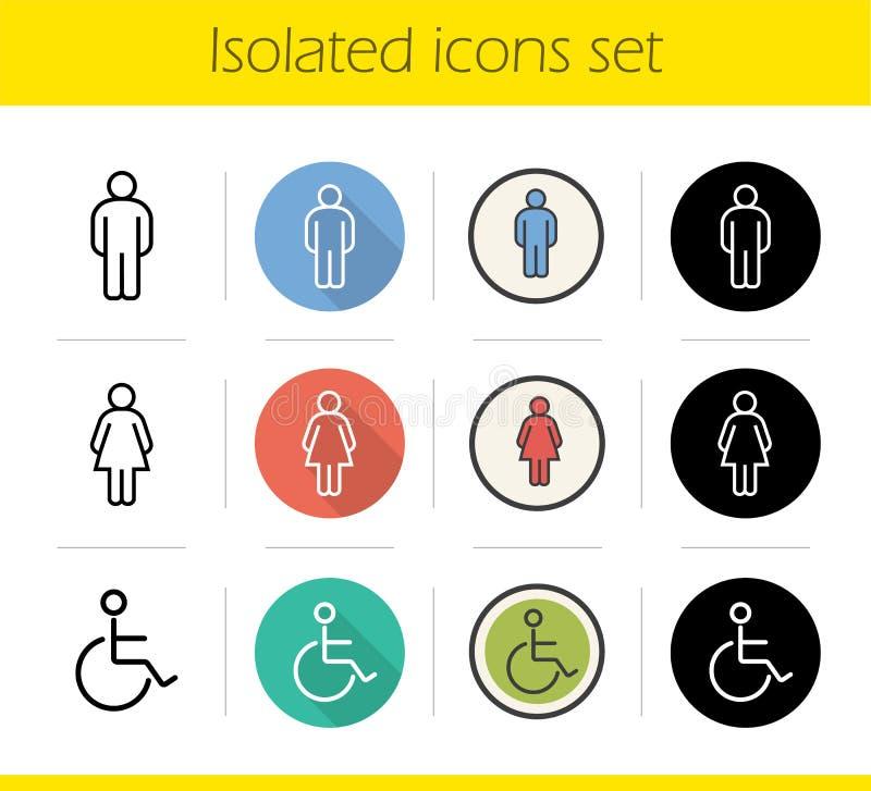 Icone della porta del WC messe illustrazione vettoriale