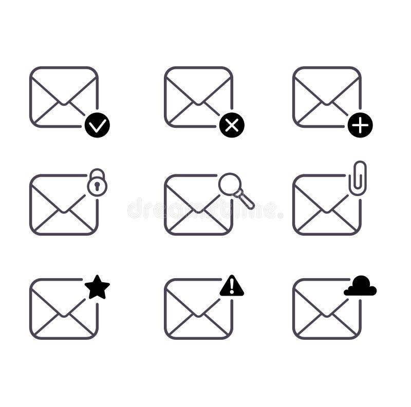 Icone della posta impostate royalty illustrazione gratis