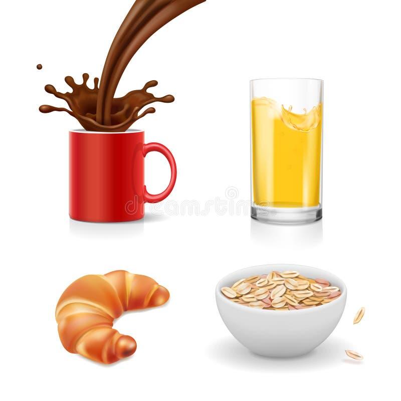 Icone della prima colazione Croissant, farina d'avena, caffè, succo d'arancia, vettore realistico isolato illustrazione vettoriale
