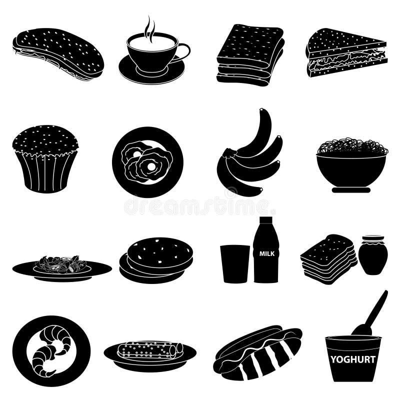Icone della prima colazione impostate royalty illustrazione gratis