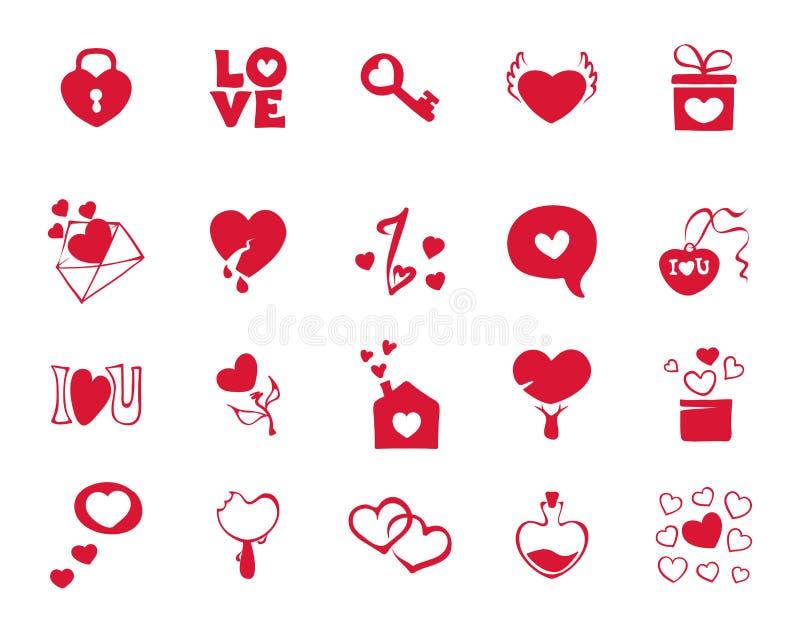 Icone della raccolta per il giorno di biglietti di S. Valentino royalty illustrazione gratis