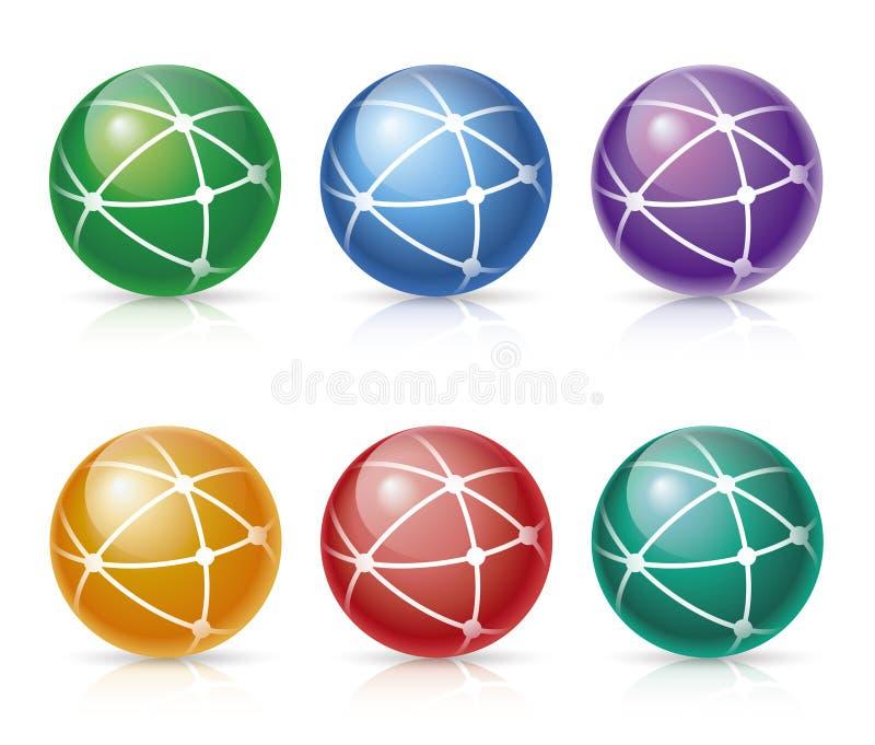 Icone della rete globale illustrazione vettoriale