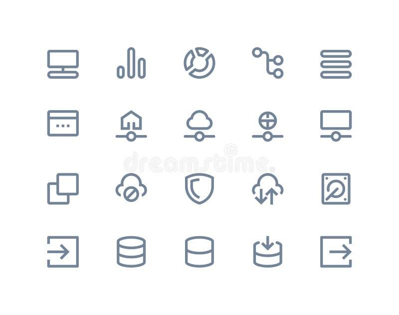 Icone della rete wireless ed ospite Linea serie illustrazione vettoriale