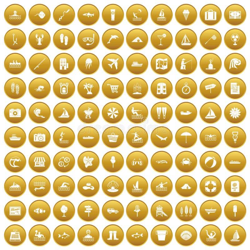 100 icone della ricreazione dell'acqua hanno messo l'oro royalty illustrazione gratis