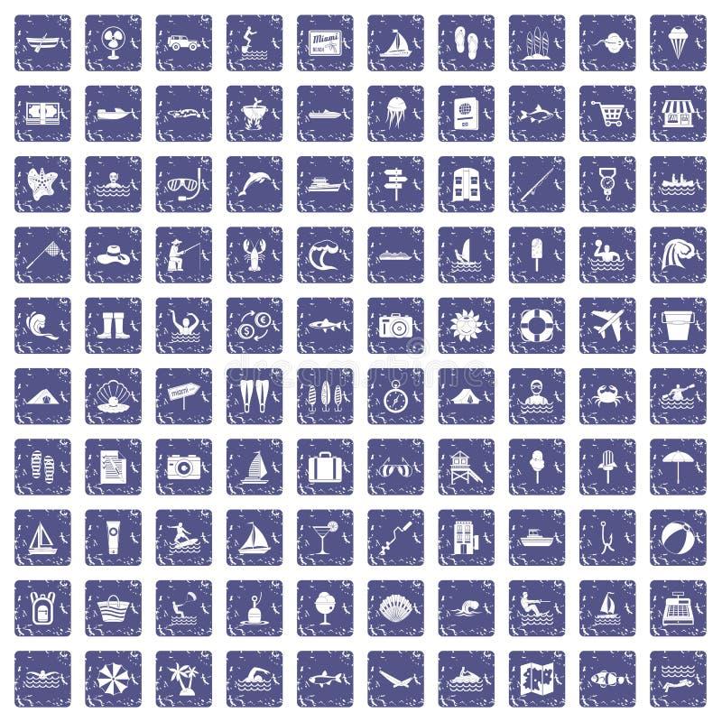 100 icone della ricreazione dell'acqua hanno messo lo zaffiro di lerciume illustrazione vettoriale