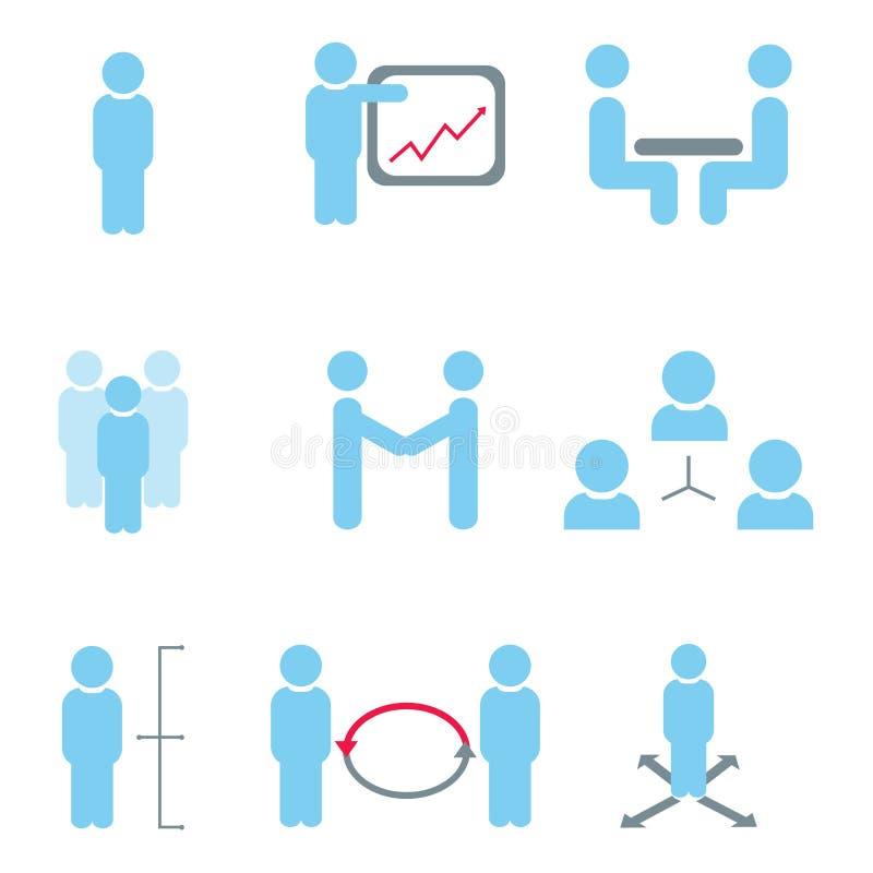 Icone della risorsa umana e della gestione illustrazione di stock