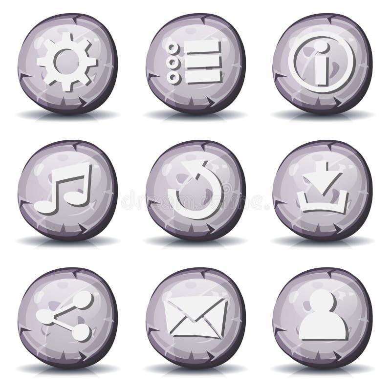 Icone della roccia e di pietra per il gioco di Ui illustrazione vettoriale