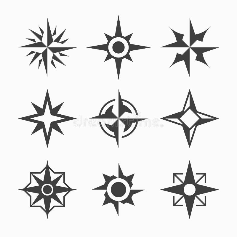 Icone della rosa dei venti royalty illustrazione gratis