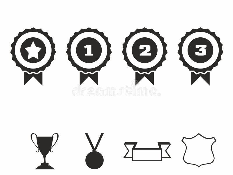 Icone della rosetta Insieme dell'icona dell'illustrazione di vettore dei distintivi del premio royalty illustrazione gratis