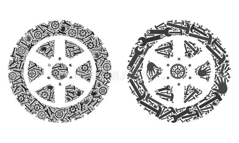 Icone della ruota della gomma del mosaico degli strumenti di riparazione illustrazione vettoriale