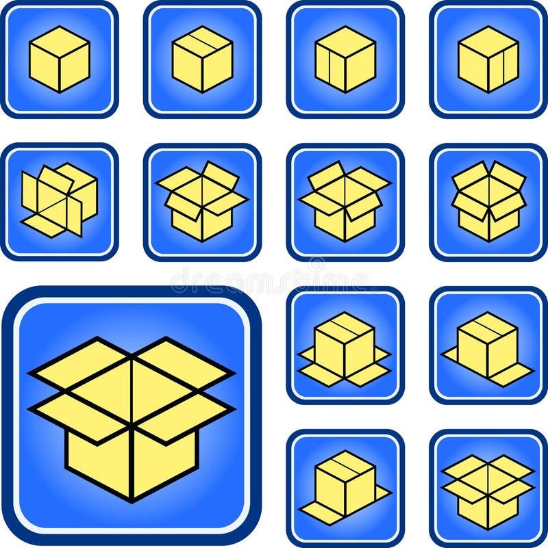 Icone della scatola fotografia stock