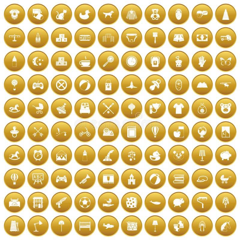 100 icone della scuola materna hanno messo l'oro illustrazione di stock