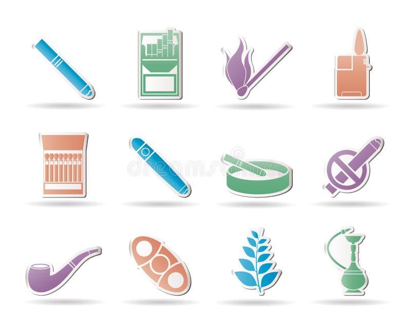 Icone della sigaretta e di fumo royalty illustrazione gratis