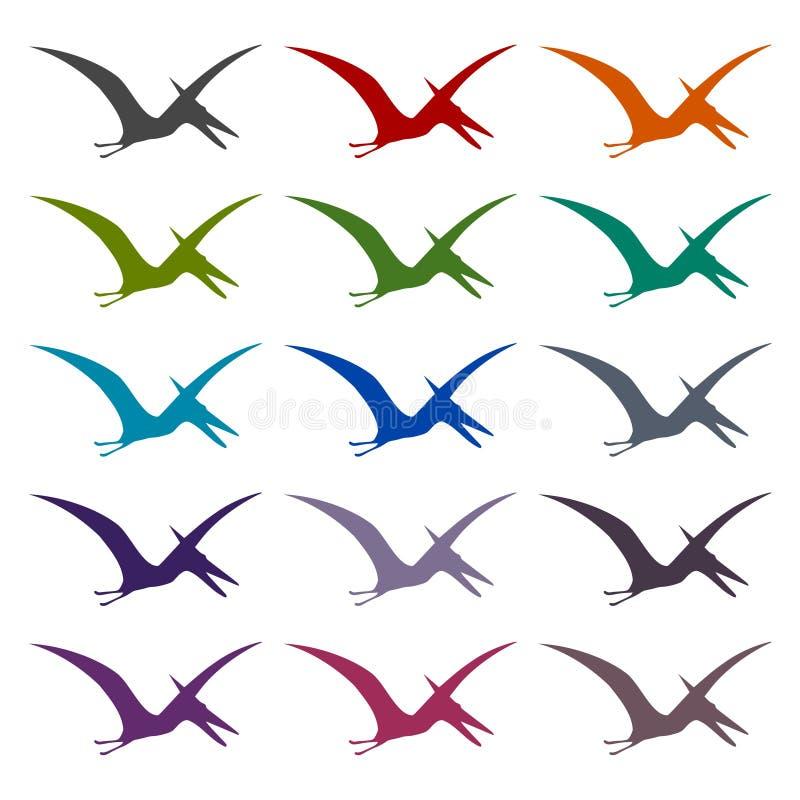 Icone della siluetta del pterodattilo messe royalty illustrazione gratis