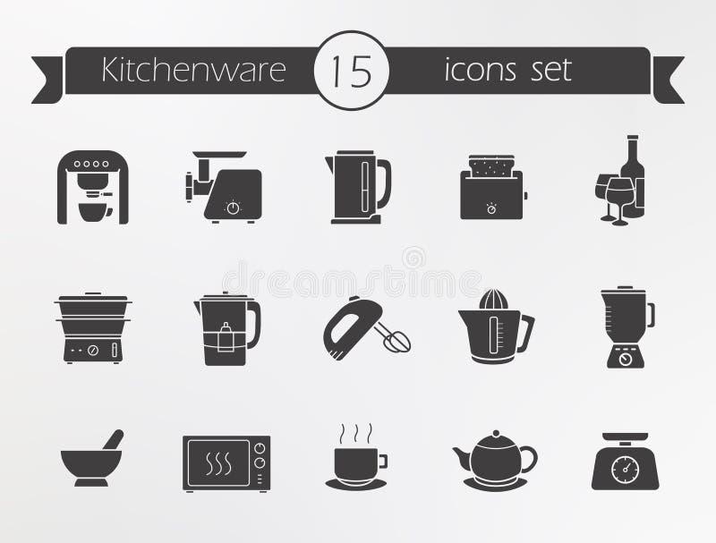Icone della siluetta dell'articolo da cucina messe illustrazione vettoriale