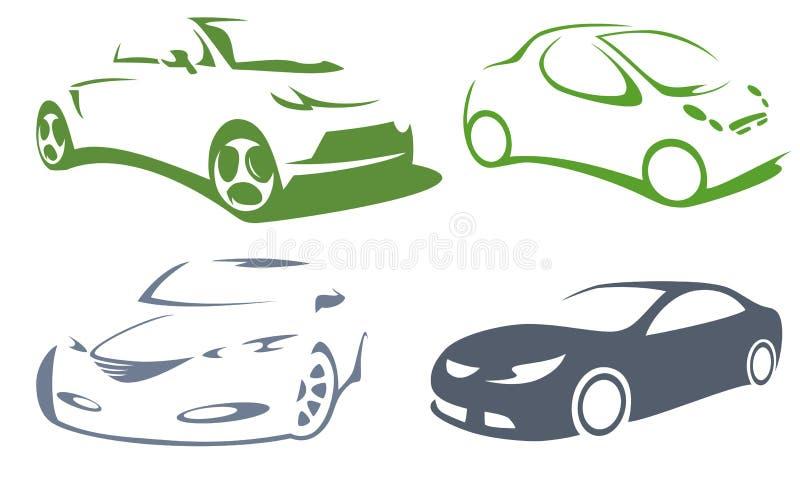 Icone della siluetta delle automobili illustrazione vettoriale
