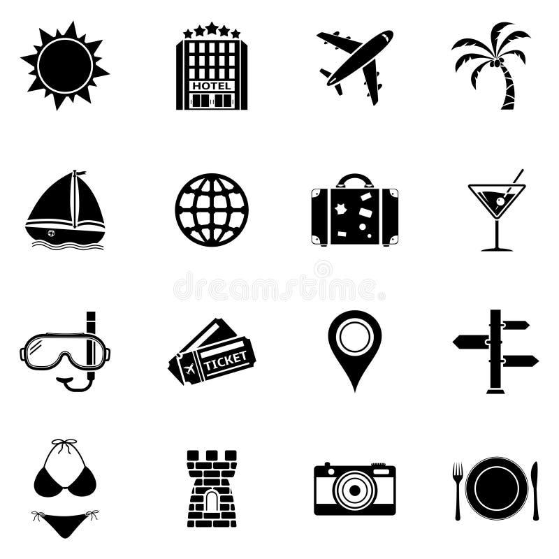 Icone della spiaggia e di estate Insieme dell'icona di vacanza royalty illustrazione gratis