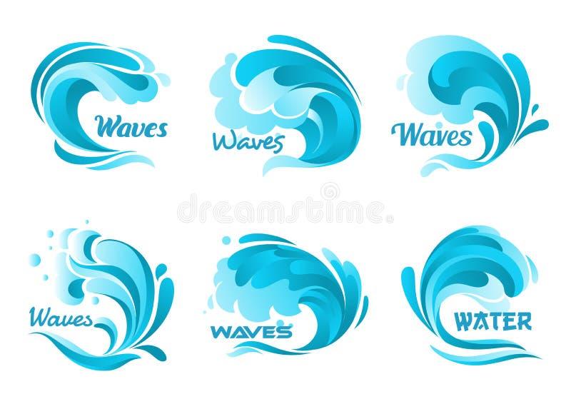 Icone della spruzzata dell'acqua Onde di oceano isolate vettore illustrazione vettoriale