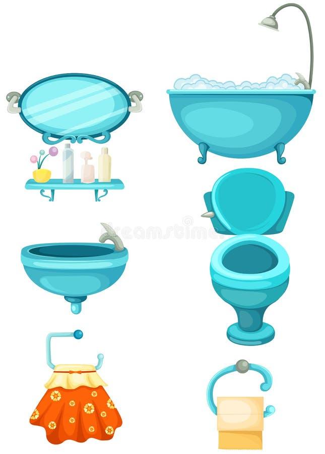 Icone della stanza da bagno impostate royalty illustrazione gratis