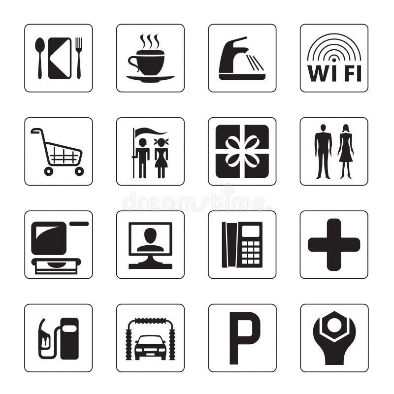 Icone della stazione di servizio, del viale e del motel royalty illustrazione gratis