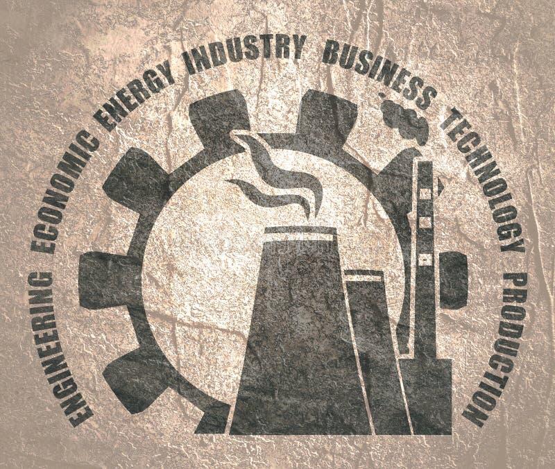 Icone della stazione e dell'ingranaggio dell'atomo illustrazione vettoriale