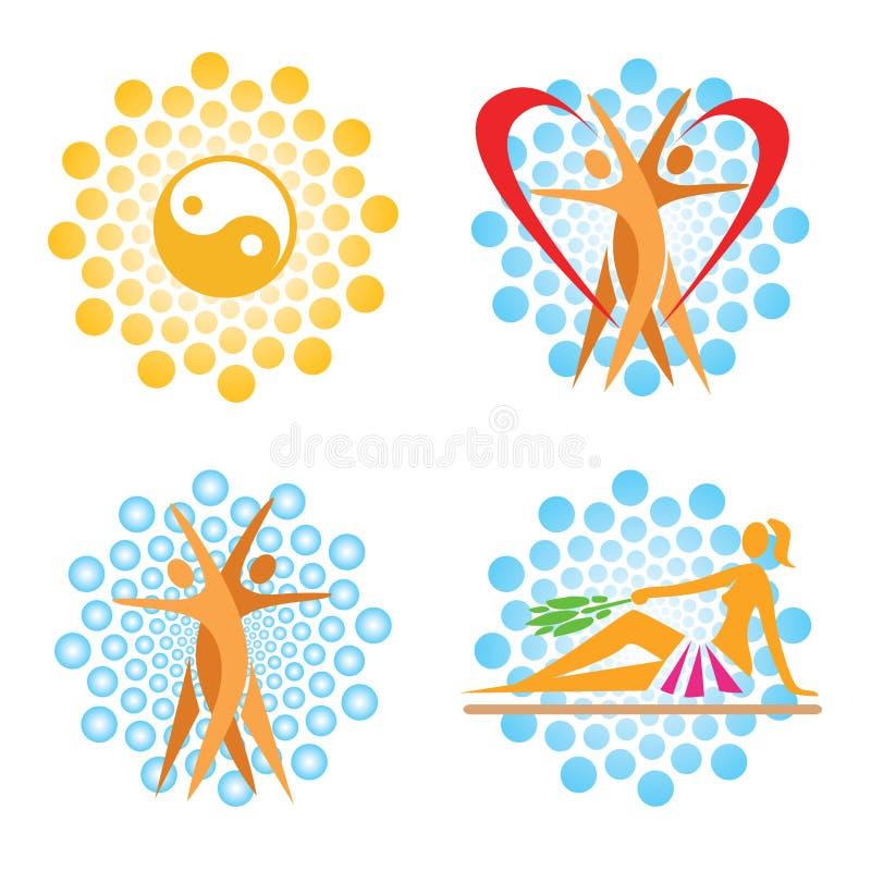 Icone della stazione termale di sauna royalty illustrazione gratis