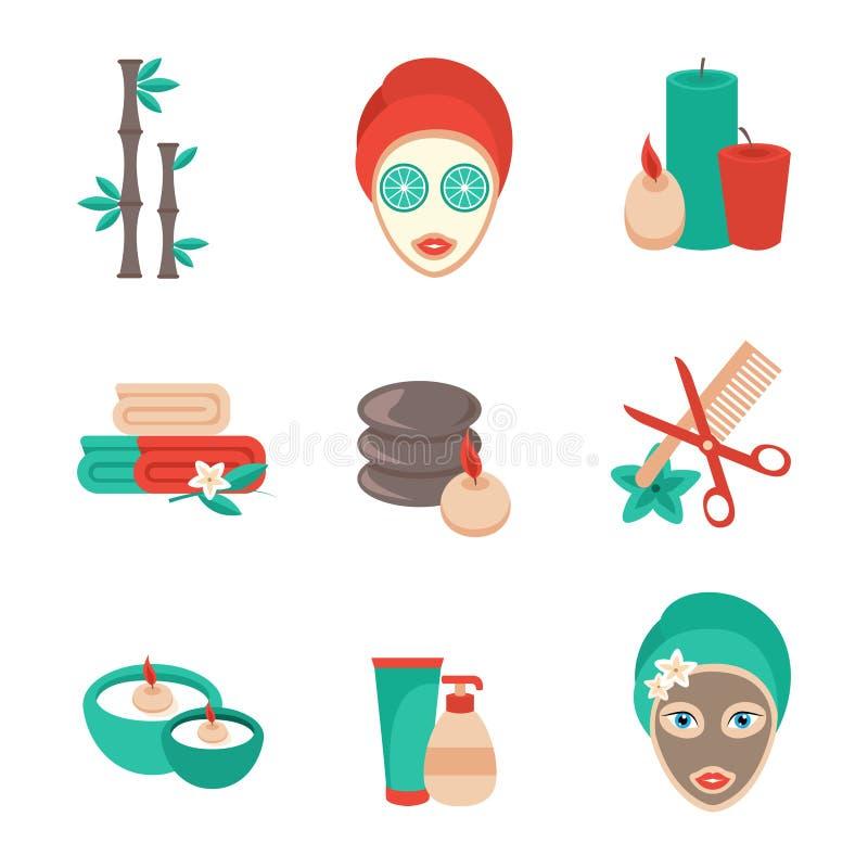 Icone della stazione termale impostate illustrazione di stock