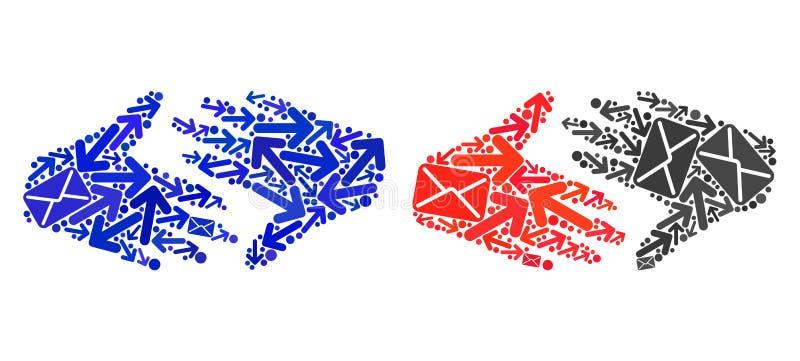 Icone della stretta di mano del commercio equo e solidale del collage di modi della posta royalty illustrazione gratis