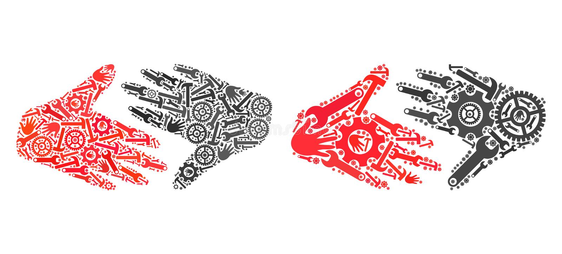 Icone della stretta di mano del commercio equo e solidale del mosaico degli strumenti di riparazione illustrazione vettoriale