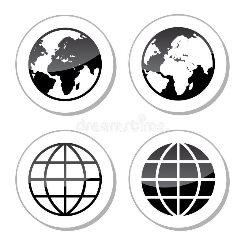Icone della terra del globo come etichette royalty illustrazione gratis