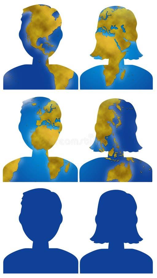 Icone della testa della gente della mappa di mondo illustrazione vettoriale
