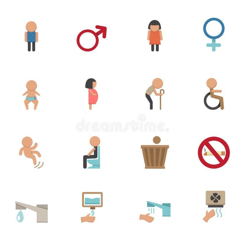 Icone della toilette illustrazione vettoriale