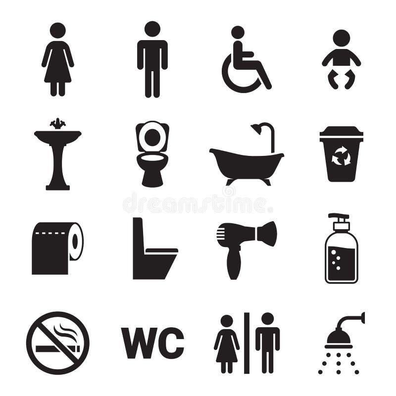 Icone della toilette messe illustrazione di stock