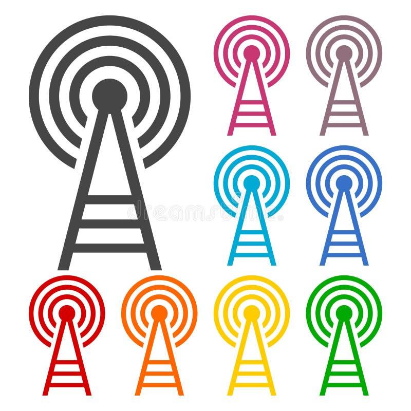 Icone della torre del trasmettitore messe illustrazione vettoriale