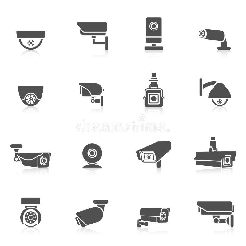 Icone della videocamera di sicurezza illustrazione vettoriale