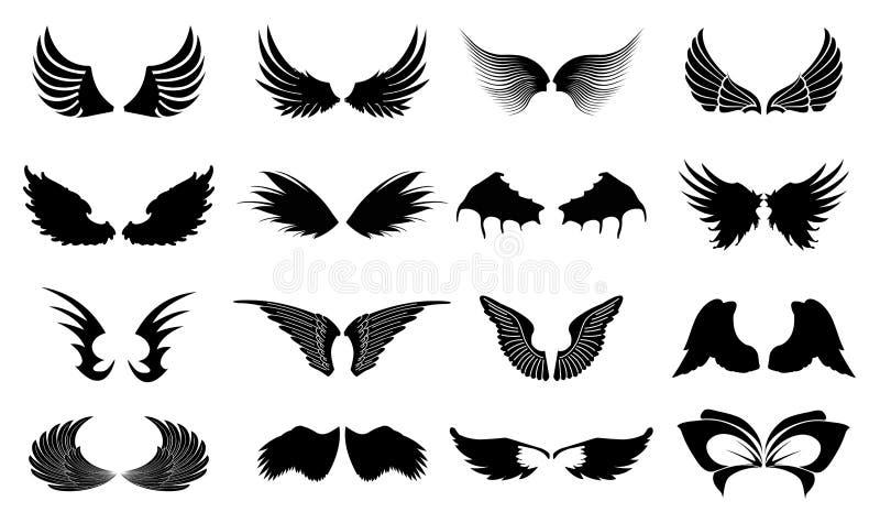 Icone delle ali illustrazione vettoriale