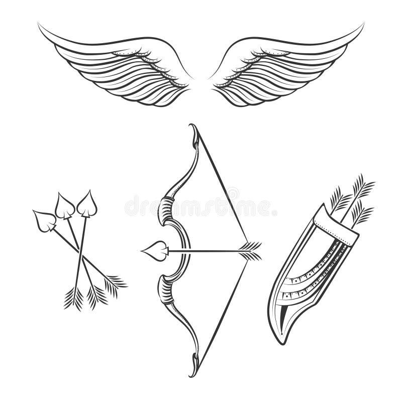 Icone delle armi del cupido illustrazione vettoriale