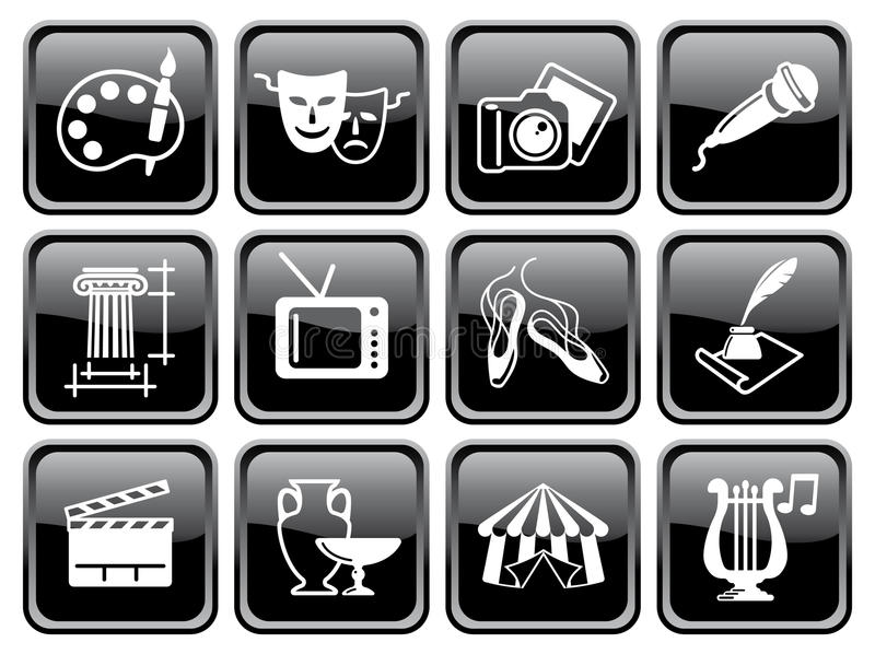 Icone delle arti sui bottoni illustrazione di stock