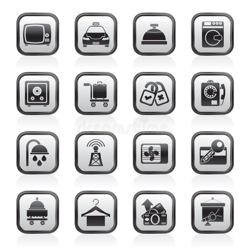 Icone delle attrezzature della stanza di motel e dell'hotel illustrazione di stock
