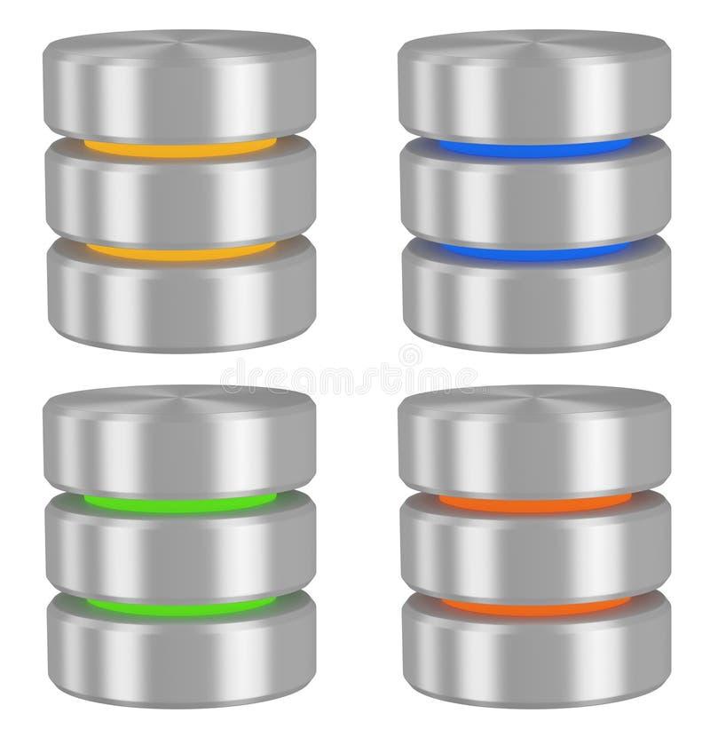 Icone delle basi di dati impostate illustrazione di stock