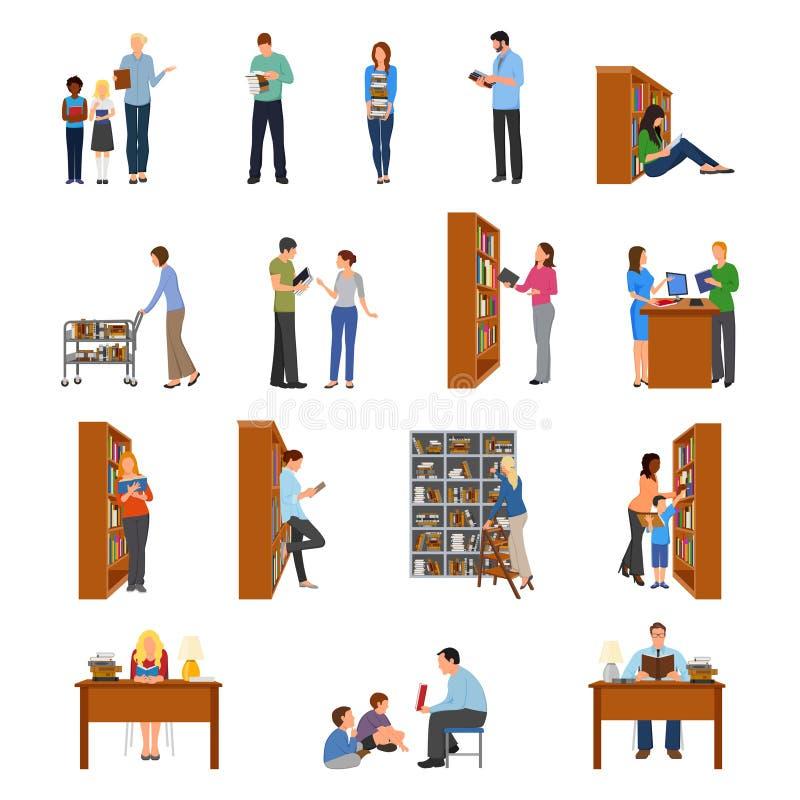 Icone delle biblioteche messe illustrazione di stock