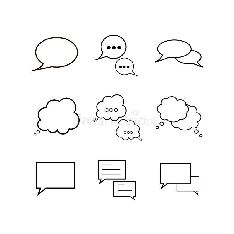 Icone delle bolle di discorso impostate illustrazione vettoriale