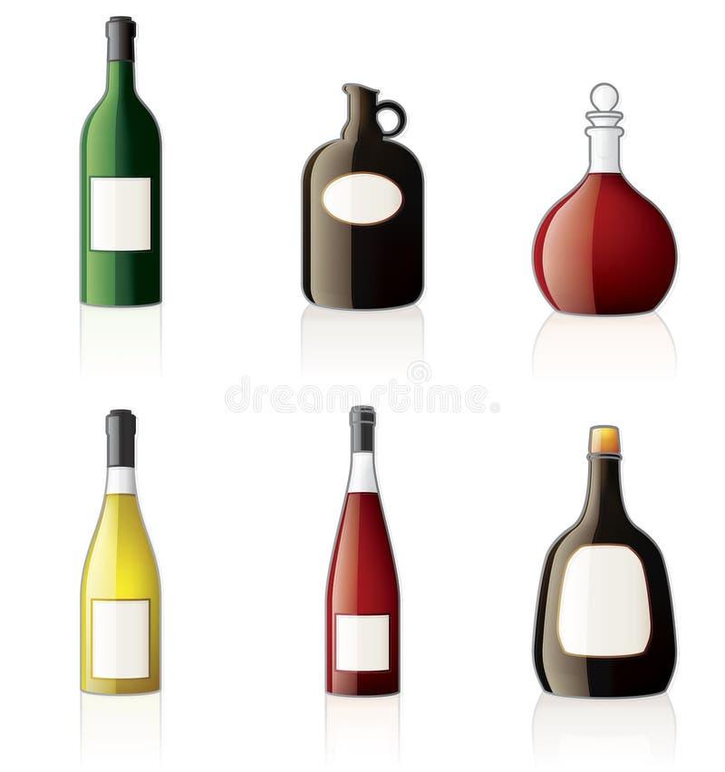 Icone delle bottiglie dell'alcool impostate illustrazione di stock